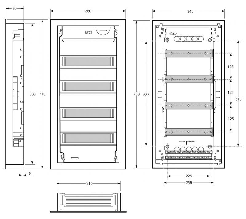 Ref eris tableaux et coffrets tableaux ip30 - Dimension tableau electrique ...